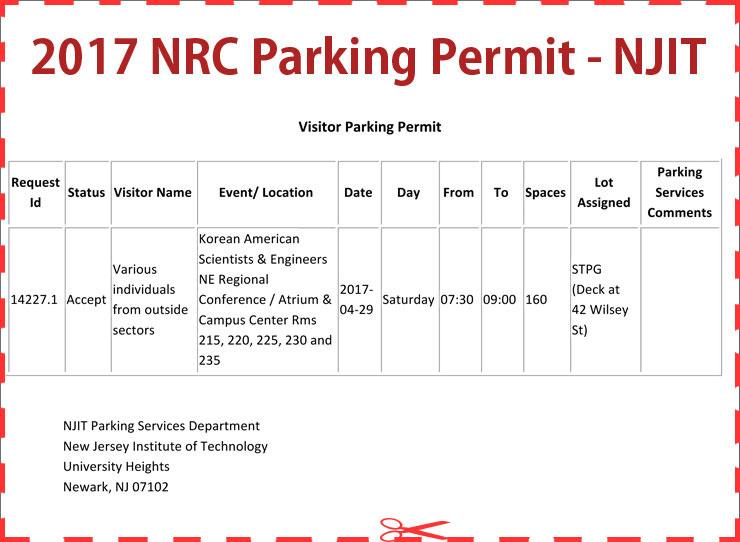 NRC 2017 Parking Permit - NJIT